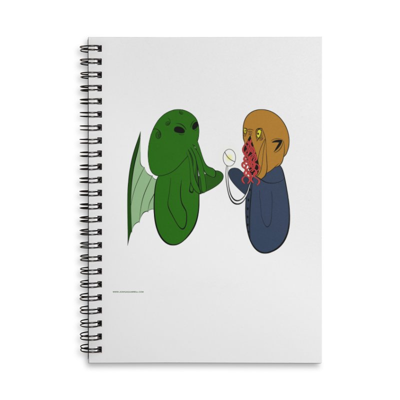 Cthulhu Meets Ood Accessories Lined Spiral Notebook by Every Drop's An Idea's Artist Shop