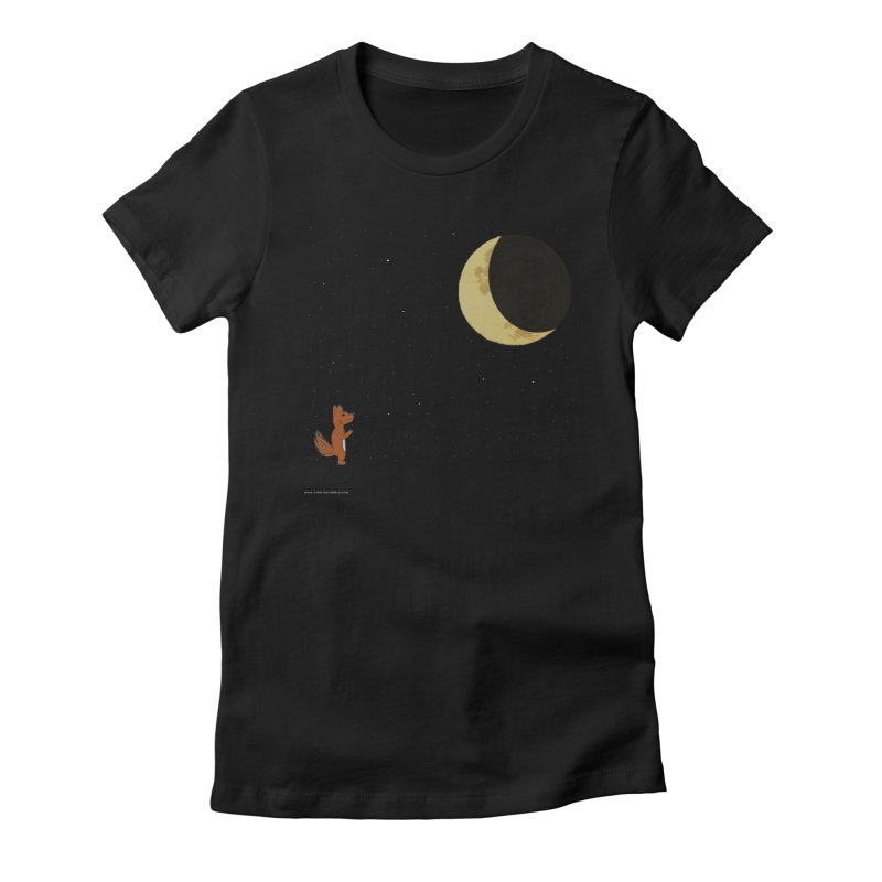 Just The Moon And I in Women's Fitted T-Shirt Black by Every Drop's An Idea's Artist Shop
