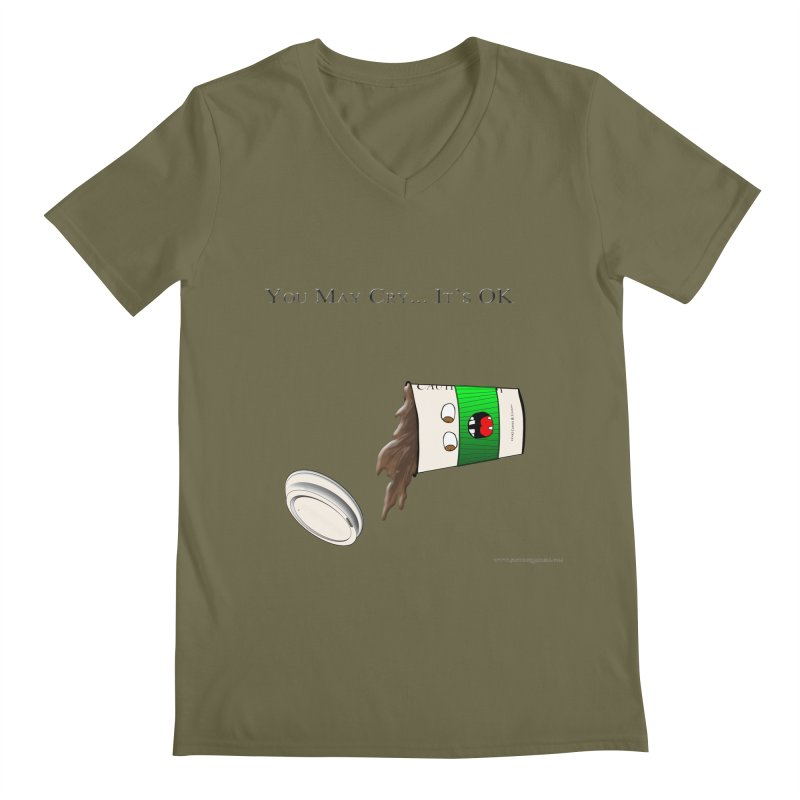 You May Cry... It's OK (Green) Men's V-Neck by Every Drop's An Idea's Artist Shop