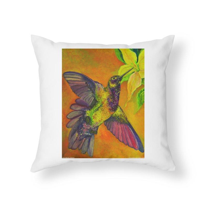 A Hummingbird's Desire Home Throw Pillow by Every Drop's An Idea's Artist Shop