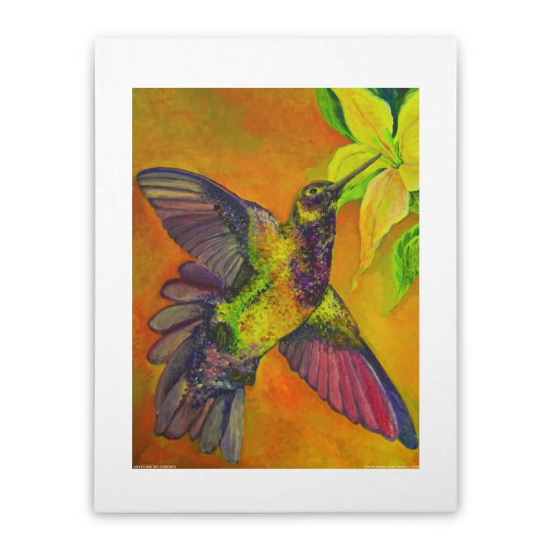 A Hummingbird's Desire Home Stretched Canvas by Every Drop's An Idea's Artist Shop
