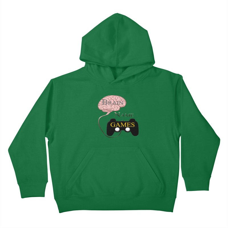 Brain Name Games in Kids Pullover Hoody Kelly Green by Every Drop's An Idea's Artist Shop