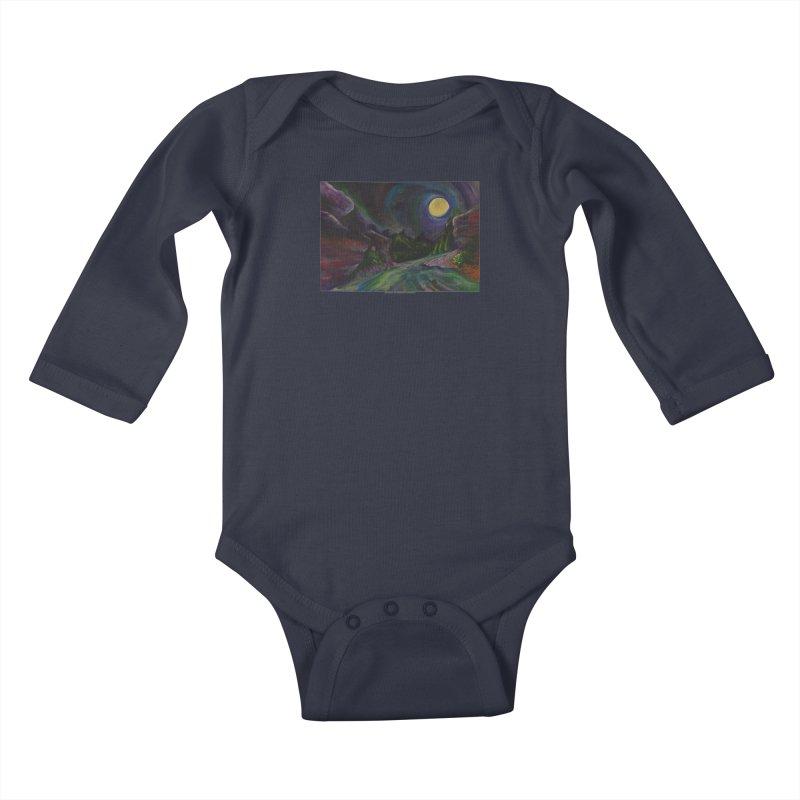 Into the Night Kids Baby Longsleeve Bodysuit by Every Drop's An Idea's Artist Shop