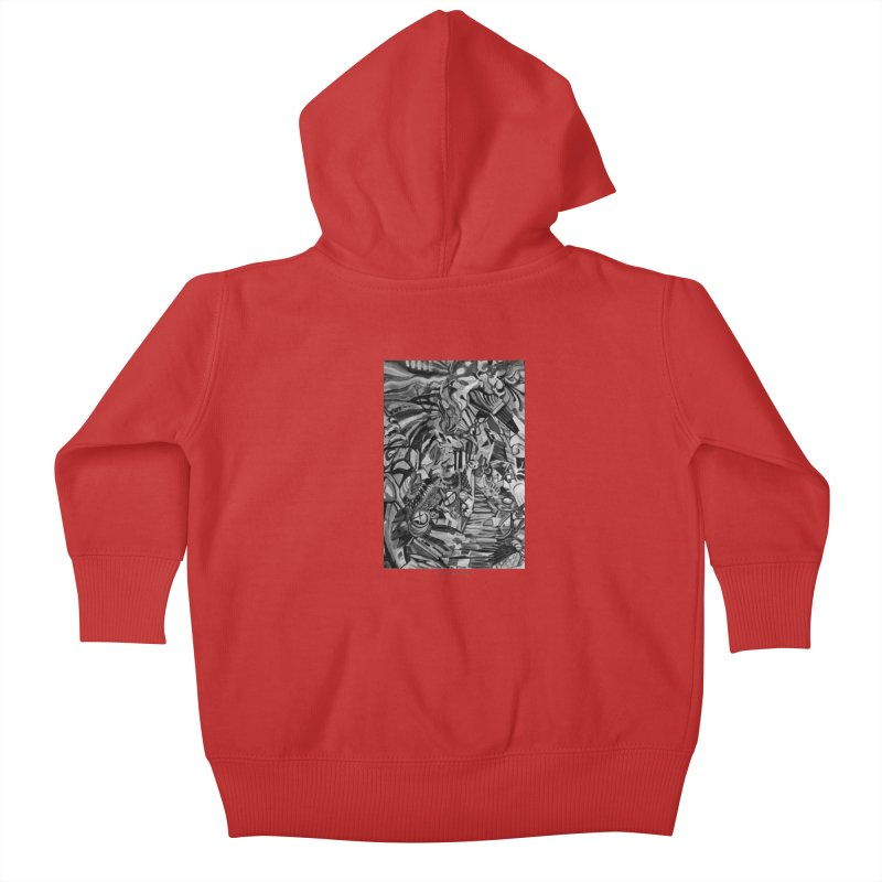 Claustrophobia (B&W) Kids Baby Zip-Up Hoody by Every Drop's An Idea's Artist Shop