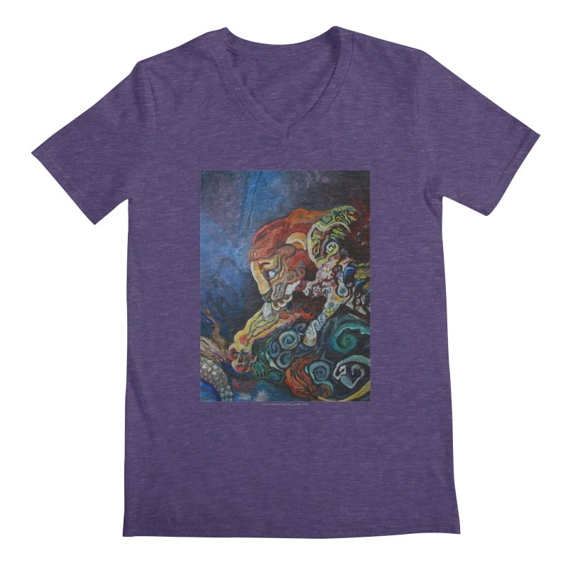 The Lion and The Lamb Men's V-Neck by Every Drop's An Idea's Artist Shop