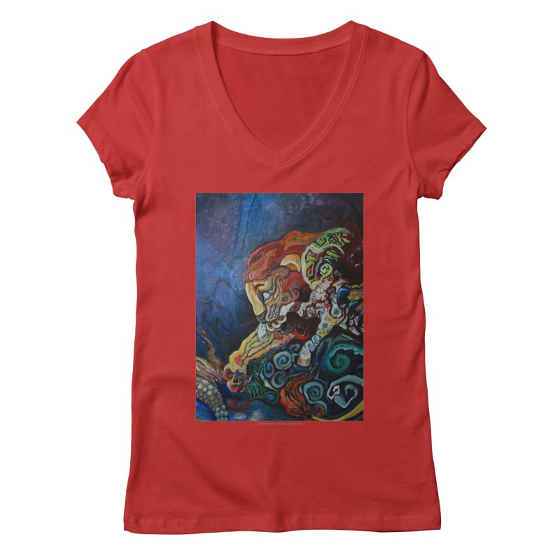 The Lion and The Lamb Women's V-Neck by Every Drop's An Idea's Artist Shop