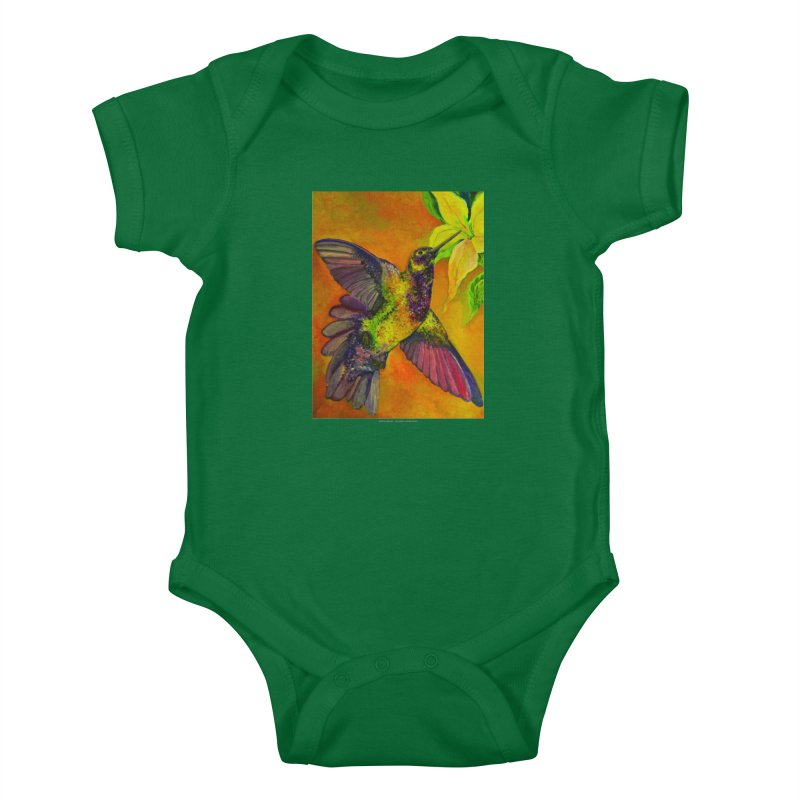 The Hummingbird and Flower Kids Baby Bodysuit by Every Drop's An Idea's Artist Shop