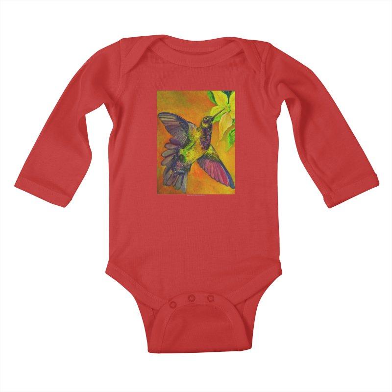 The Hummingbird and Flower Kids Baby Longsleeve Bodysuit by Every Drop's An Idea's Artist Shop