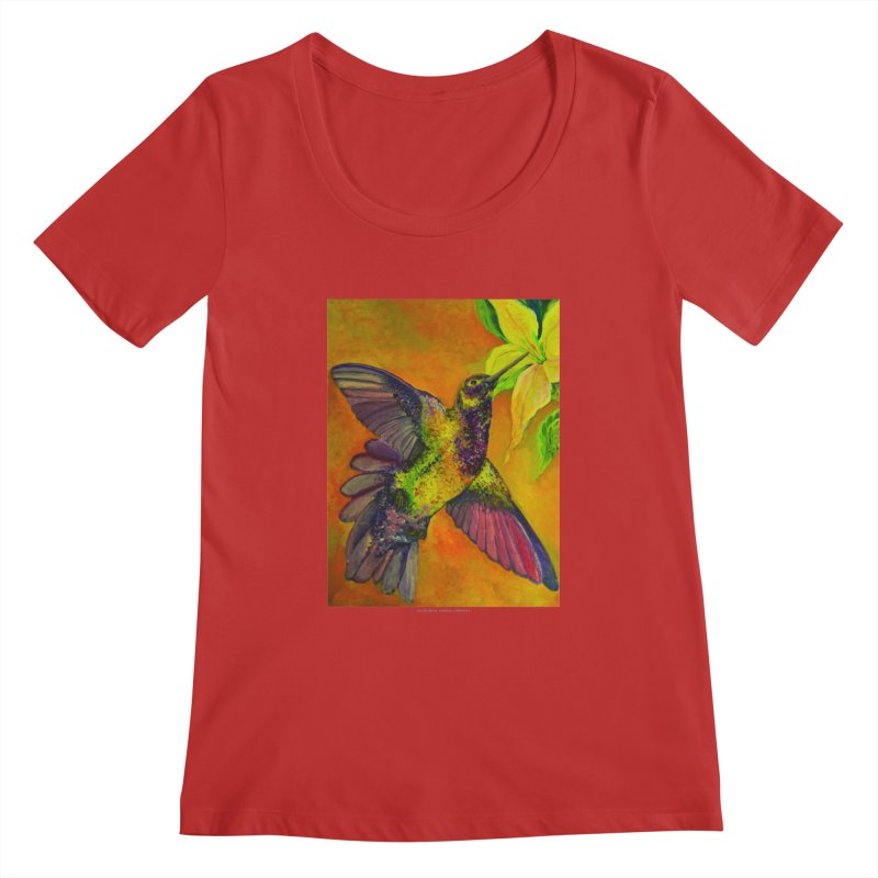 The Hummingbird and Flower Women's Scoopneck by Every Drop's An Idea's Artist Shop
