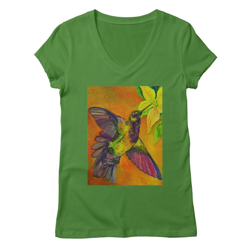 The Hummingbird and Flower Women's V-Neck by Every Drop's An Idea's Artist Shop