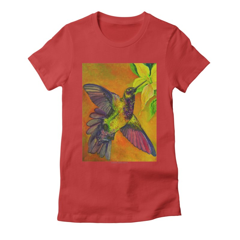 The Hummingbird and Flower Women's Fitted T-Shirt by Every Drop's An Idea's Artist Shop
