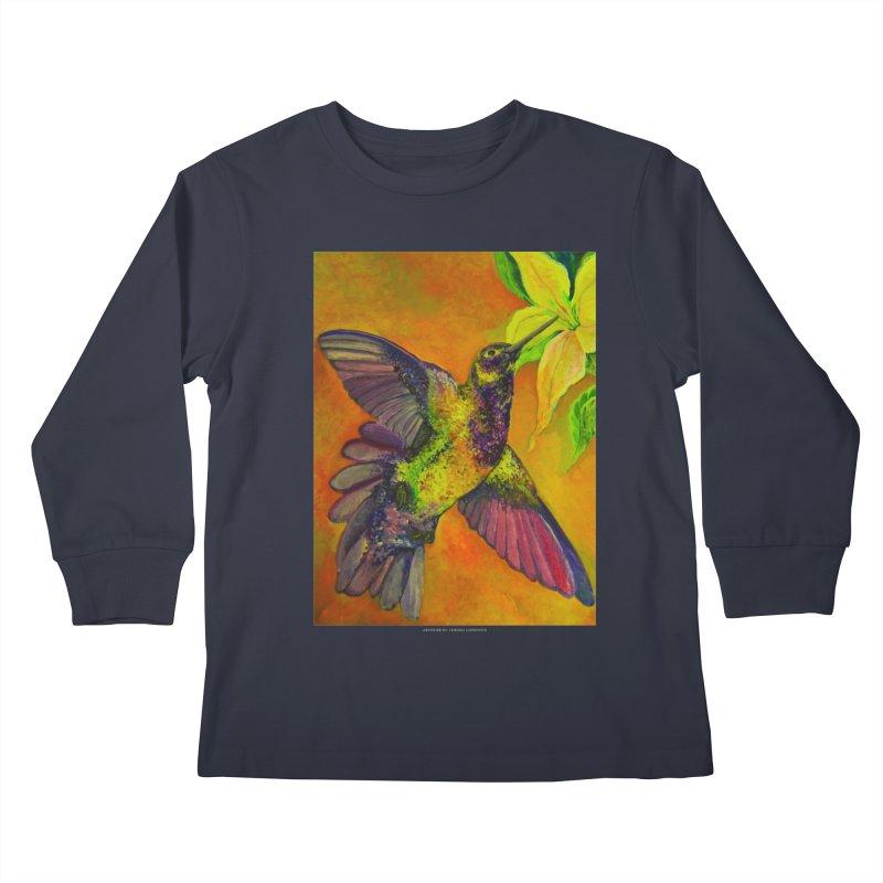 The Hummingbird and Flower Kids Longsleeve T-Shirt by Every Drop's An Idea's Artist Shop