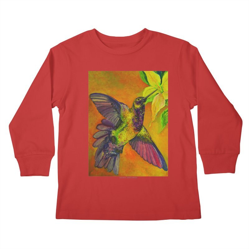 The Hummingbird and Flower Kids Longsleeve T-Shirt by Every Drop's An Idea's Artist Shop