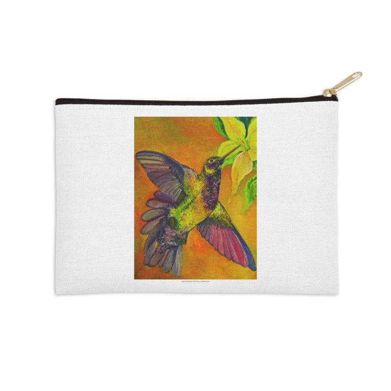 The Hummingbird and Flower Accessories Zip Pouch by Every Drop's An Idea's Artist Shop