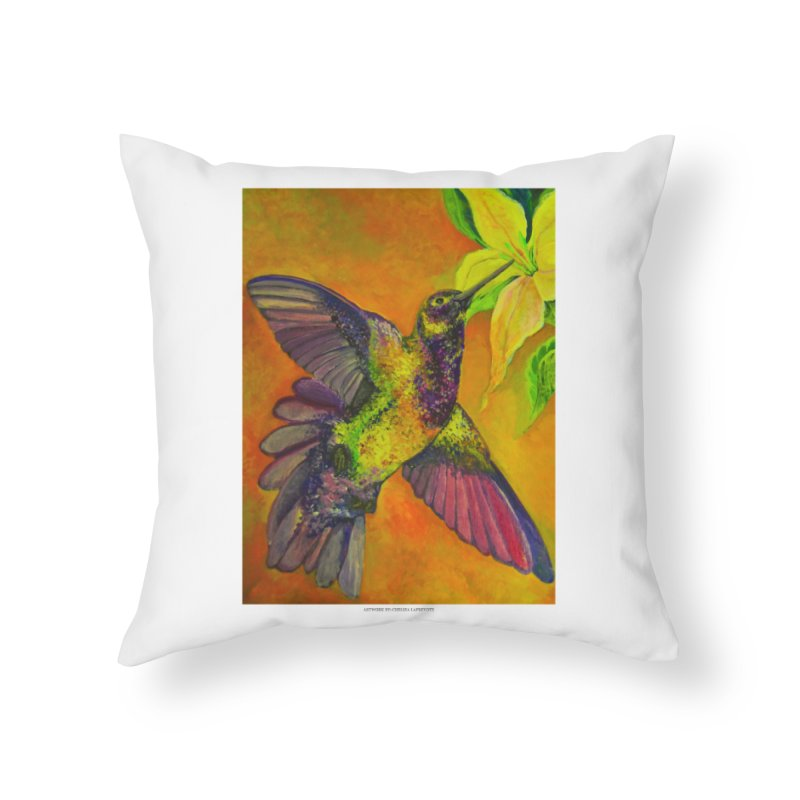 The Hummingbird and Flower Home Throw Pillow by Every Drop's An Idea's Artist Shop