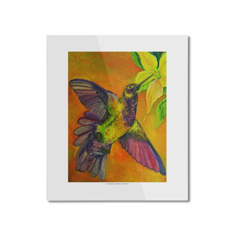 The Hummingbird and Flower Home Mounted Aluminum Print by Every Drop's An Idea's Artist Shop