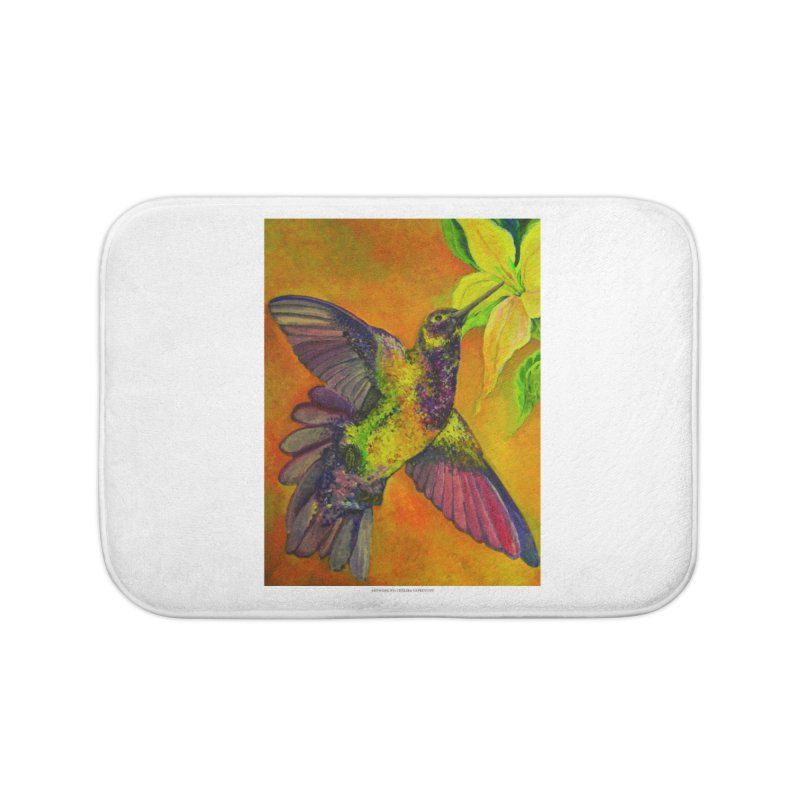 The Hummingbird and Flower Home Bath Mat by Every Drop's An Idea's Artist Shop