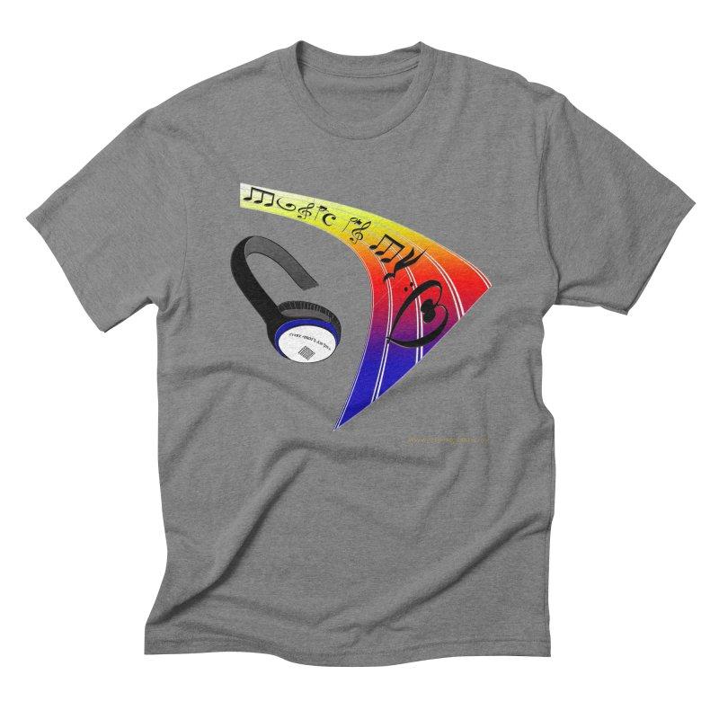 Music Is My Heart Men's Triblend T-Shirt by Every Drop's An Idea's Artist Shop