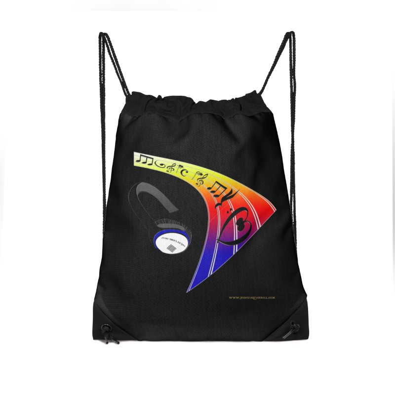 Music Is My Heart Accessories Drawstring Bag Bag by Every Drop's An Idea's Artist Shop