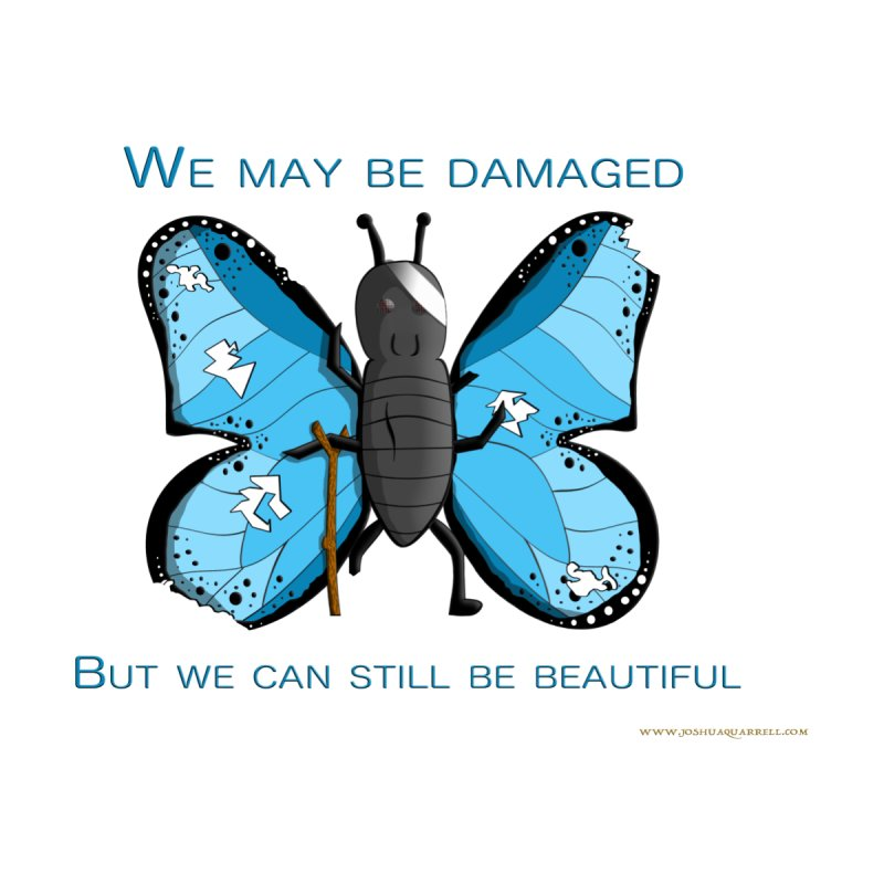 Battle Damaged Butterfly Men's V-Neck by Every Drop's An Idea's Artist Shop