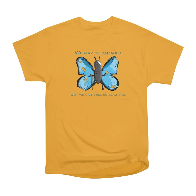 Battle Damaged Butterfly in Men's Heavyweight T-Shirt Gold by Every Drop's An Idea's Artist Shop