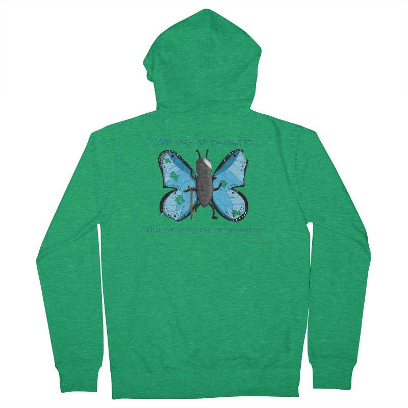 Battle Damaged Butterfly Women's Zip-Up Hoody by Every Drop's An Idea's Artist Shop