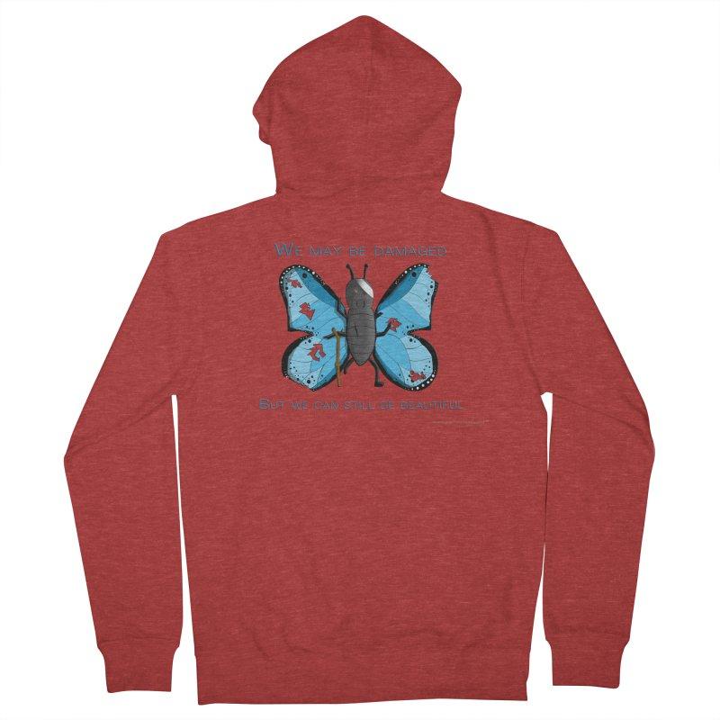 Battle Damaged Butterfly Women's French Terry Zip-Up Hoody by Every Drop's An Idea's Artist Shop
