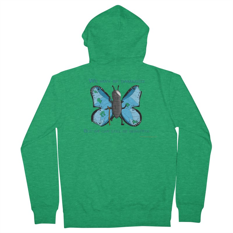 Battle Damaged Butterfly Men's Zip-Up Hoody by Every Drop's An Idea's Artist Shop