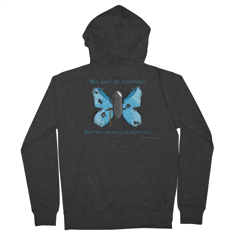 Battle Damaged Butterfly Men's French Terry Zip-Up Hoody by Every Drop's An Idea's Artist Shop