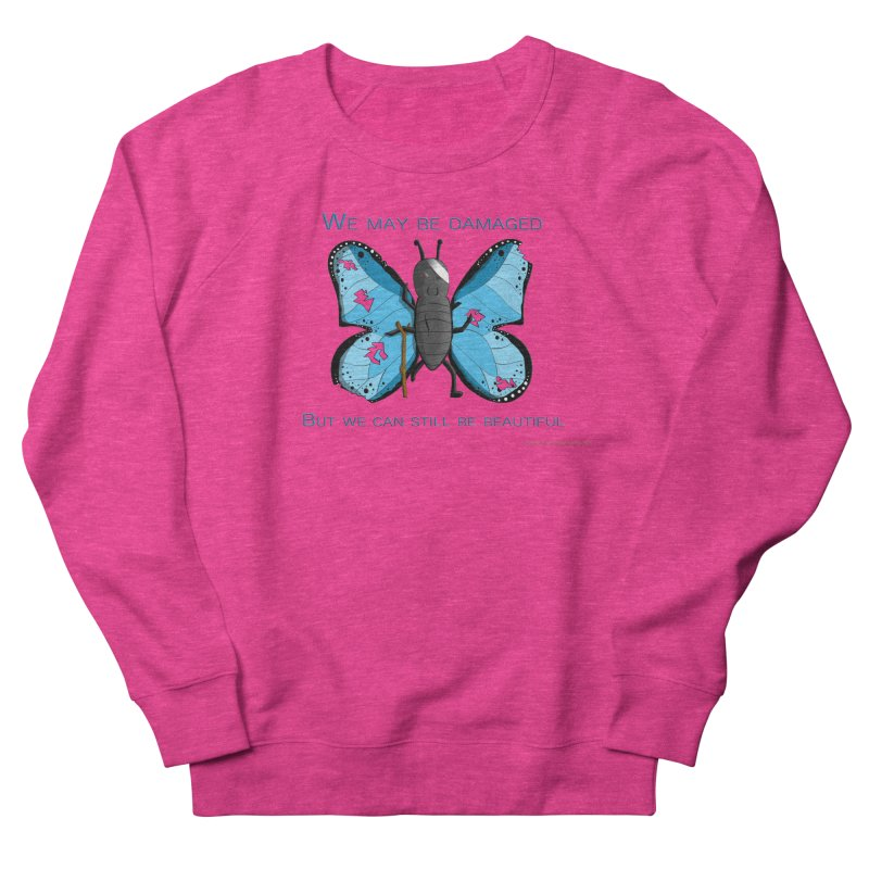 Battle Damaged Butterfly Women's French Terry Sweatshirt by Every Drop's An Idea's Artist Shop