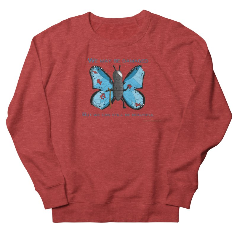 Battle Damaged Butterfly Men's French Terry Sweatshirt by Every Drop's An Idea's Artist Shop