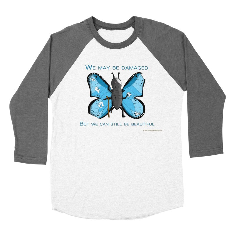 Battle Damaged Butterfly Women's Baseball Triblend Longsleeve T-Shirt by Every Drop's An Idea's Artist Shop