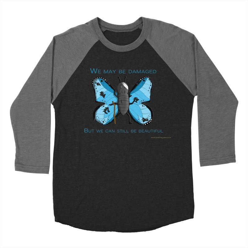 Battle Damaged Butterfly Men's Baseball Triblend Longsleeve T-Shirt by Every Drop's An Idea's Artist Shop