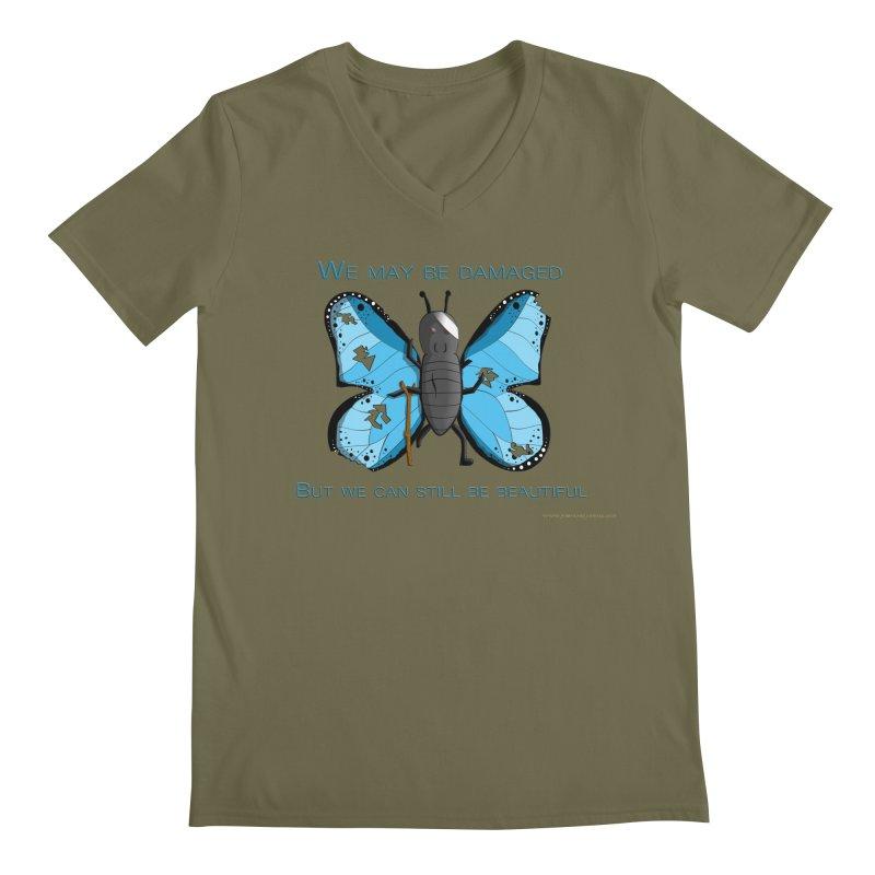 Battle Damaged Butterfly Men's Regular V-Neck by Every Drop's An Idea's Artist Shop