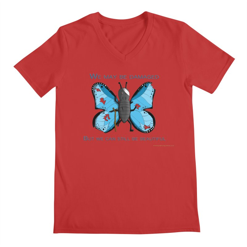 Battle Damaged Butterfly Men's V-Neck by Every Drop's An Idea's Artist Shop