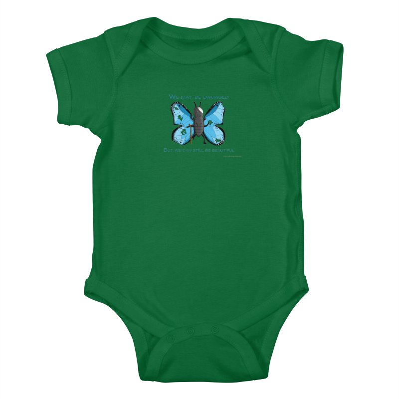 Battle Damaged Butterfly Kids Baby Bodysuit by Every Drop's An Idea's Artist Shop