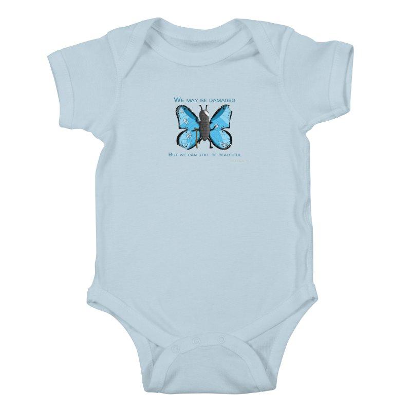 Battle Damaged Butterfly Kids Baby Bodysuit by Every Drop's An Idea's Artist Shop