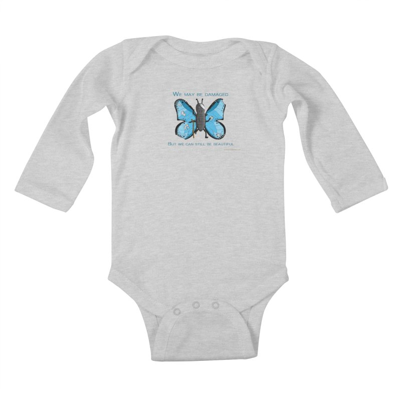 Battle Damaged Butterfly Kids Baby Longsleeve Bodysuit by Every Drop's An Idea's Artist Shop