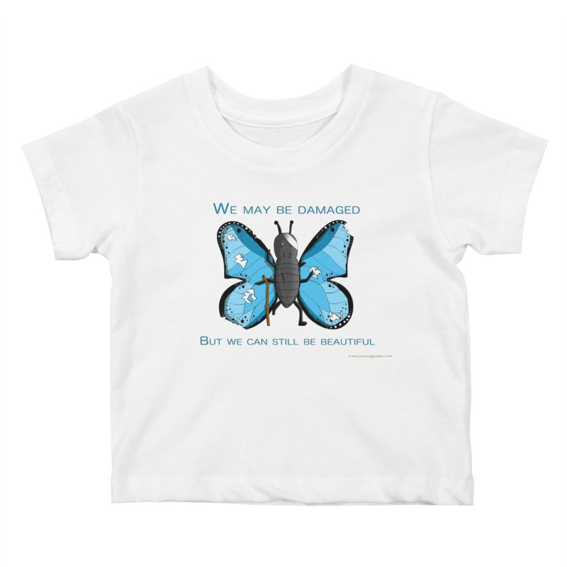 Battle Damaged Butterfly Kids Baby T-Shirt by Every Drop's An Idea's Artist Shop