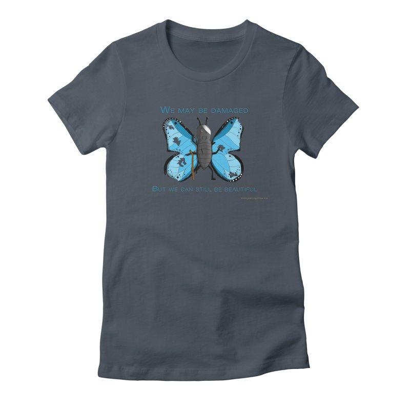 Battle Damaged Butterfly Feminie T-Shirt by Every Drop's An Idea's Artist Shop