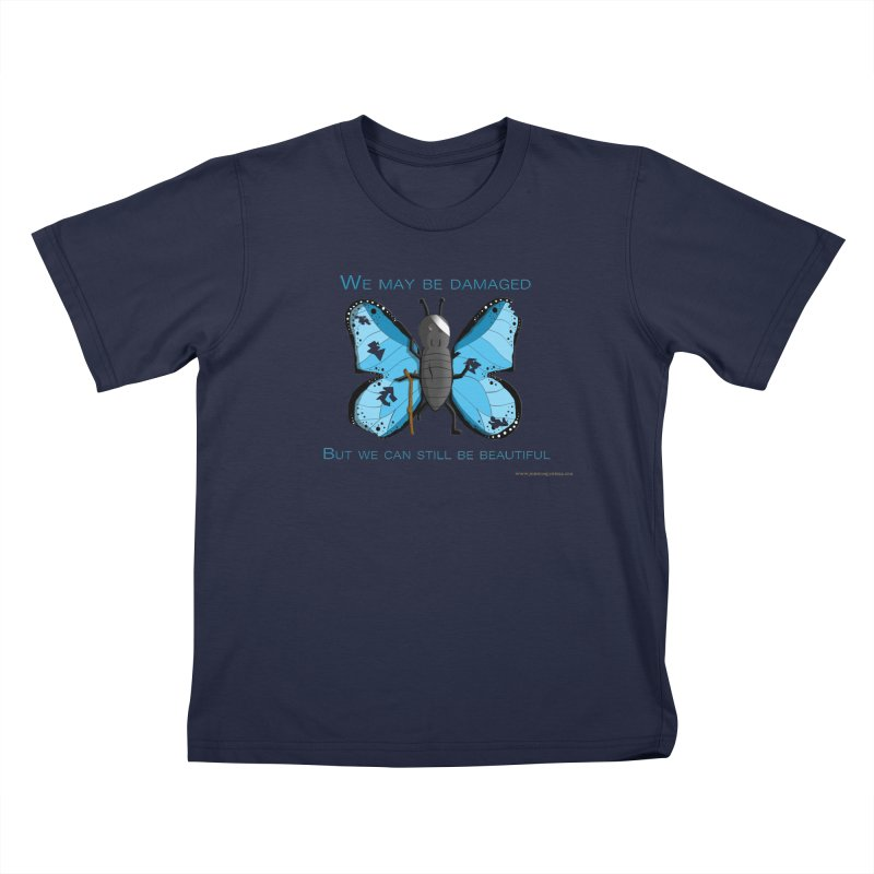 Battle Damaged Butterfly Kids T-Shirt by Every Drop's An Idea's Artist Shop