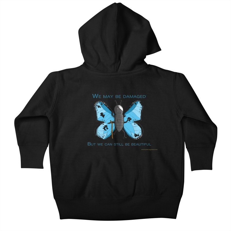 Battle Damaged Butterfly Kids Baby Zip-Up Hoody by Every Drop's An Idea's Artist Shop