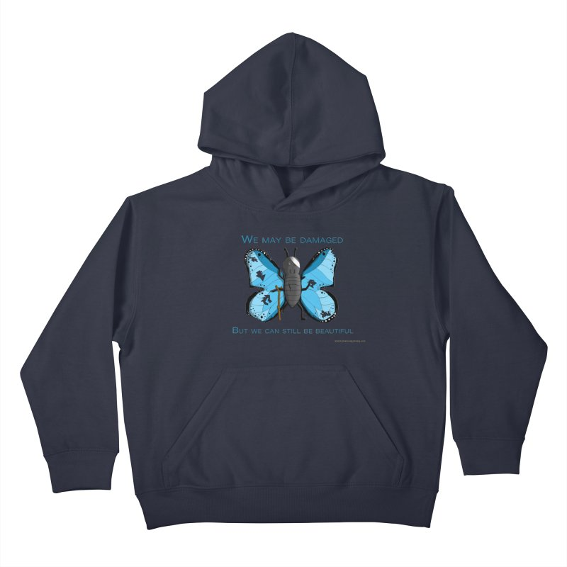 Battle Damaged Butterfly Kids Pullover Hoody by Every Drop's An Idea's Artist Shop