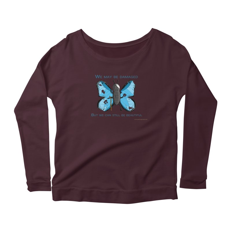 Battle Damaged Butterfly Women's Scoop Neck Longsleeve T-Shirt by Every Drop's An Idea's Artist Shop