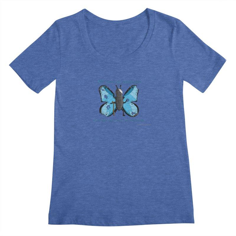 Battle Damaged Butterfly Women's Regular Scoop Neck by Every Drop's An Idea's Artist Shop