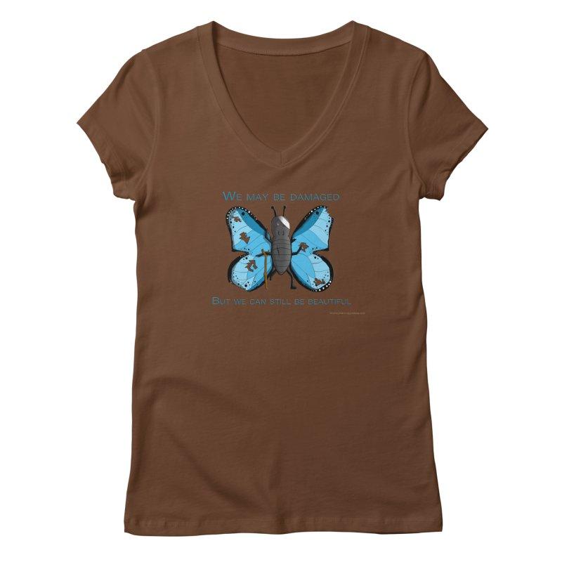 Battle Damaged Butterfly Women's V-Neck by Every Drop's An Idea's Artist Shop