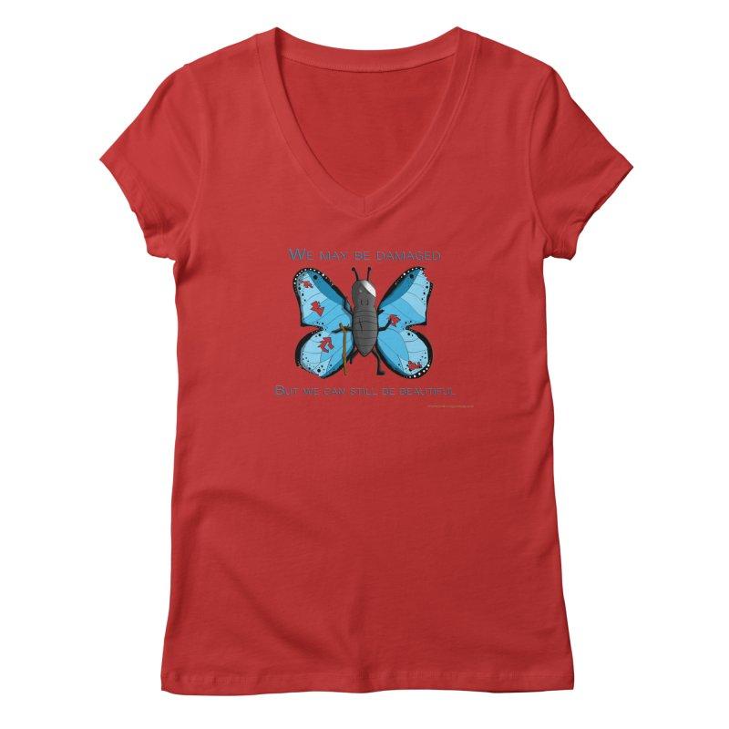 Battle Damaged Butterfly Women's Regular V-Neck by Every Drop's An Idea's Artist Shop