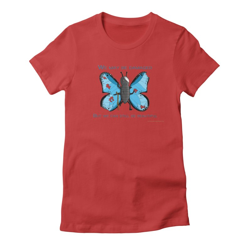 Battle Damaged Butterfly Women's Fitted T-Shirt by Every Drop's An Idea's Artist Shop