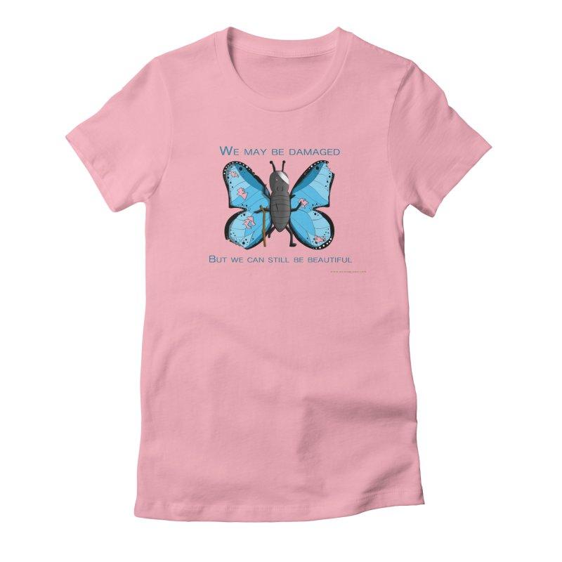 Battle Damaged Butterfly Women's Fitted T-Shirt by Every Drop's An Idea's Artist Shop