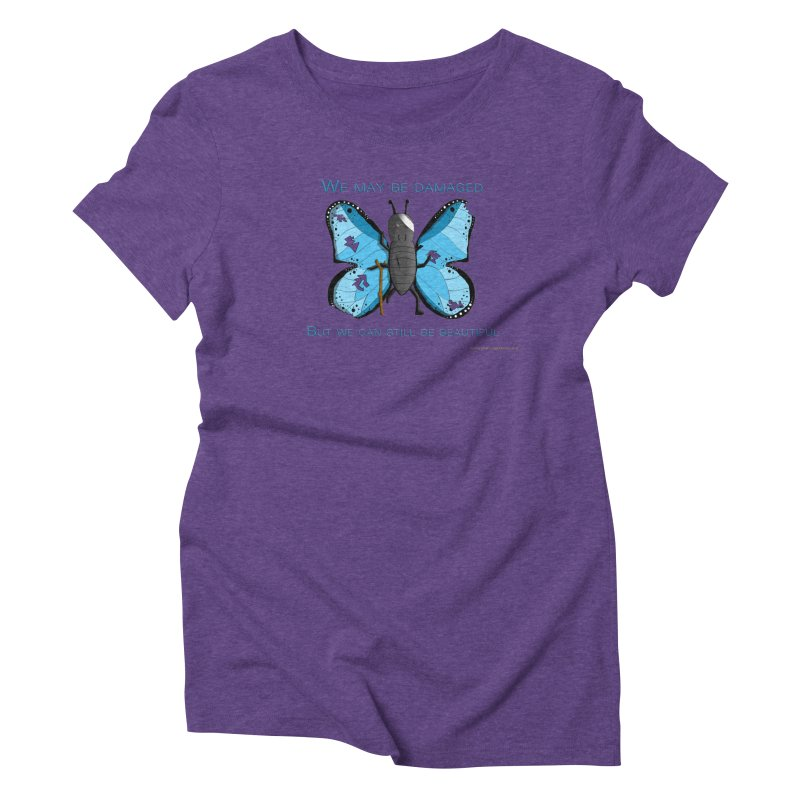 Battle Damaged Butterfly Women's Triblend T-Shirt by Every Drop's An Idea's Artist Shop